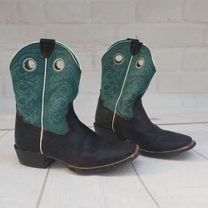 ARIAT CROSSFIRE BROWN & TURQUOISE LEATHER BOOTS